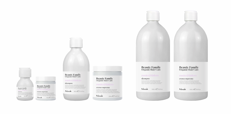 Nook Beauty Family Organic Serie (romice&dattero) til kemisk behandlet hår.