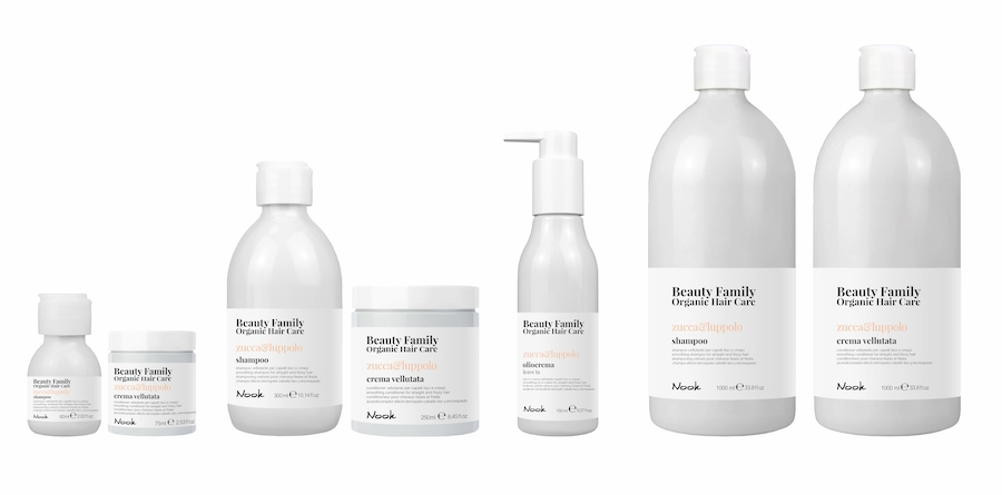 Nook Beauty Family Organic Serie (zucca&luppolo) FOR STRAIGHT AND FRIZZY HAIR.